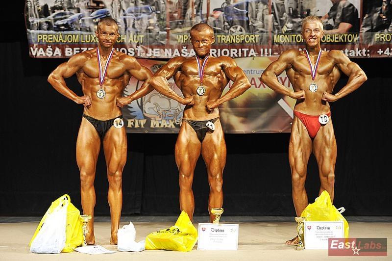 Kulturistika dorastencov do 75 kg: 2. Porada, 1. Bulava, 3. Petrgalovič.