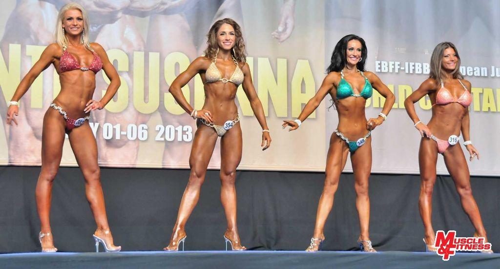 O absolútne prvenstvo v bikini fitness žien (zľava): Majerníková, Antovská, Rosenbergerová, Kuglerová. Zvíťazila Karina Antovská.