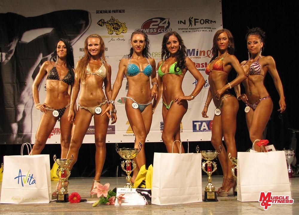 Bikini fitness: 5. Vavorková, 3. Kováčová, 1. Bujdošová, 2. Gargalíková, 4. Szabová, 6. Kukanová.