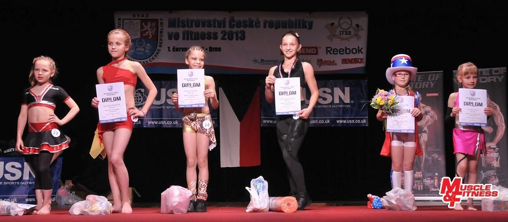 Fitness děti – dívky do 10 let: (zleva) 6. Holišová, 4. Pekařová, 2. Pokorná, 1. Remešová, 3. Plicková, 5. Bučková.