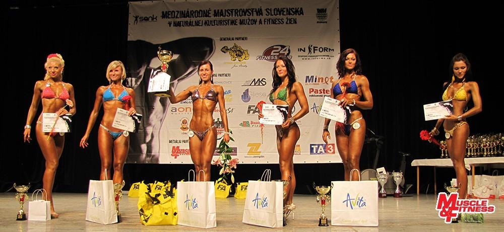 Fitness model nad 170 cm: 5. Hanková, 3. Bagačová, 1. Bronišová, 2. Molnárová, 4. Švorcová, 6. Fejleková.