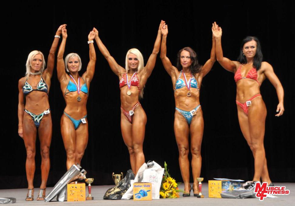 Bodyfitness nad 163 cm: 4. Kovalčíková, 2. Paračková, 1. Ondrejovičová, 3. Bátkyová, 5. Gulejová.