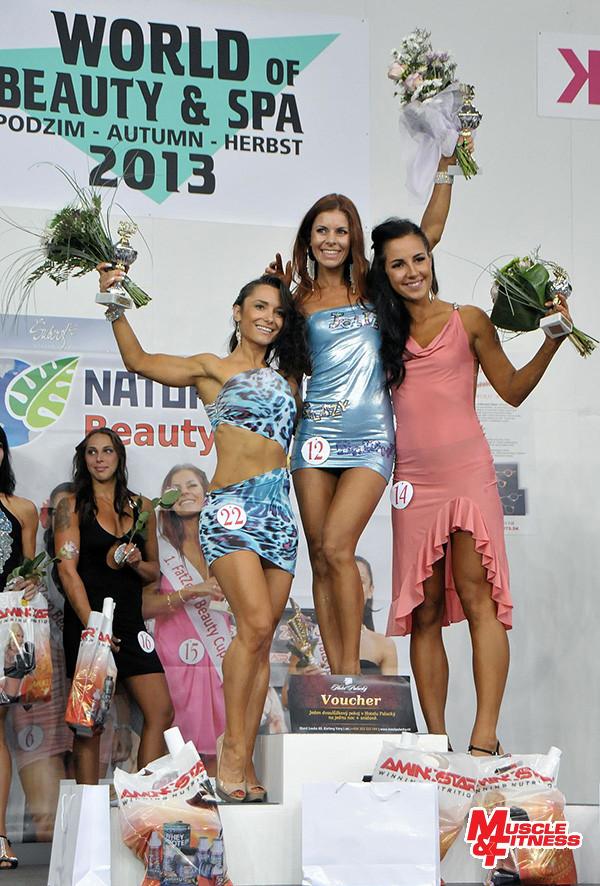 Vítězné trio ve fitness bikini (zleva): 2. Zelenskaya, 1. Kompasová, 3. Paluříková.