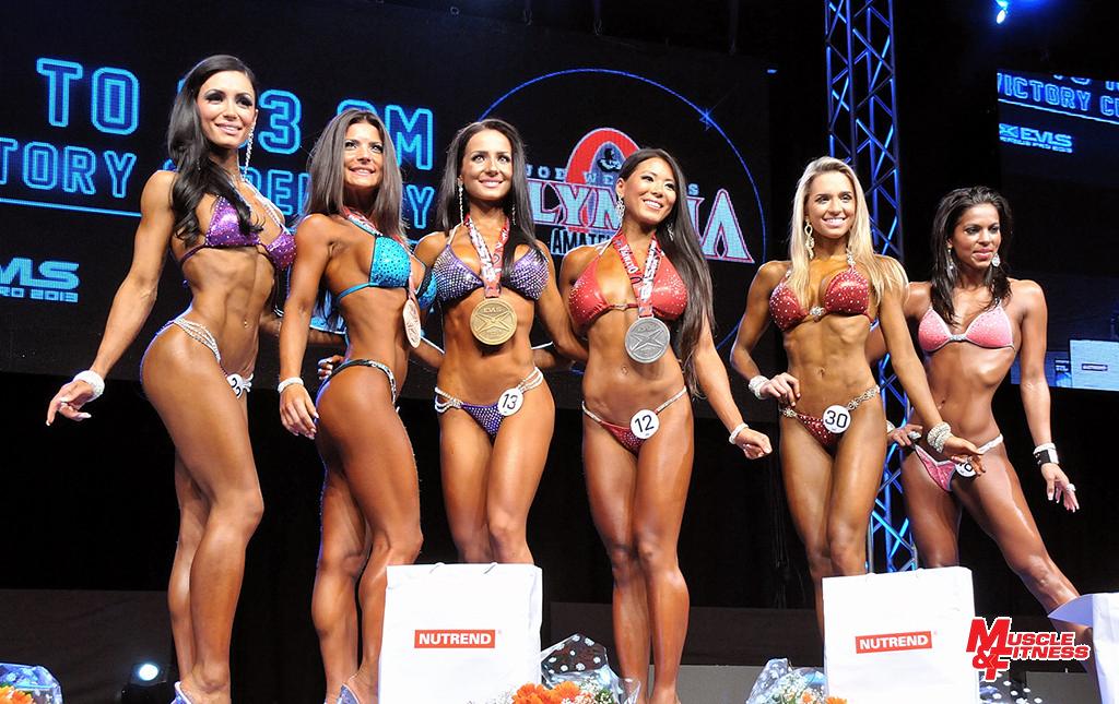 Amateur Bikini Olympia 2013 – do 163 cm (zleva): Vrabič, Kuglerová, Pleváková, Coustels, Andrade, Zsiga.