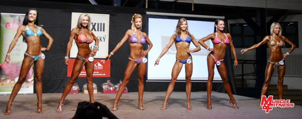 Bikini finess nad 164 cm: 3. Knaperková, 5. Struhačková, 6. Patáková, 1. Kandráčová, 2. Marčišovská, 4. Szabová.