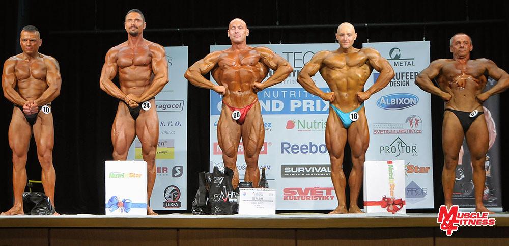 Kulturistika muži nad 80 kg: 4. Herditzky, 2. Malzer, 1. Bardosz, 3. Vacek, 5. Martiš.