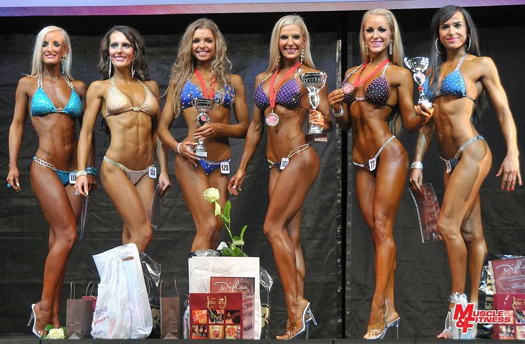 Bikini fitness do 166 cm: 6. Čierny, 4. Zichová, 2. Kandráčová, 1. Lipovská, 3. Hargašová, 5. Kušnírová.