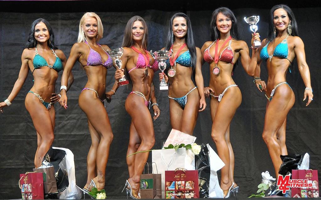 Bikini fitness do 163 cm: 6. Tarkuličová, 4. Brutenič, 2. Kuglerová, 1. Pleváková, 3. Prítrská, 5. Rosenbergerová.
