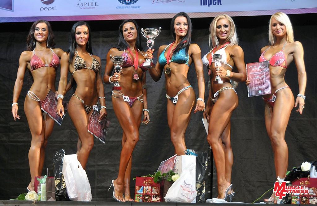 Bikini fitness do 169 cm: 6. Knaperková, 4. Medžová, 2. Sedlárová, 1. Marčišovská, 3. Milová, 5. Bobáľová.
