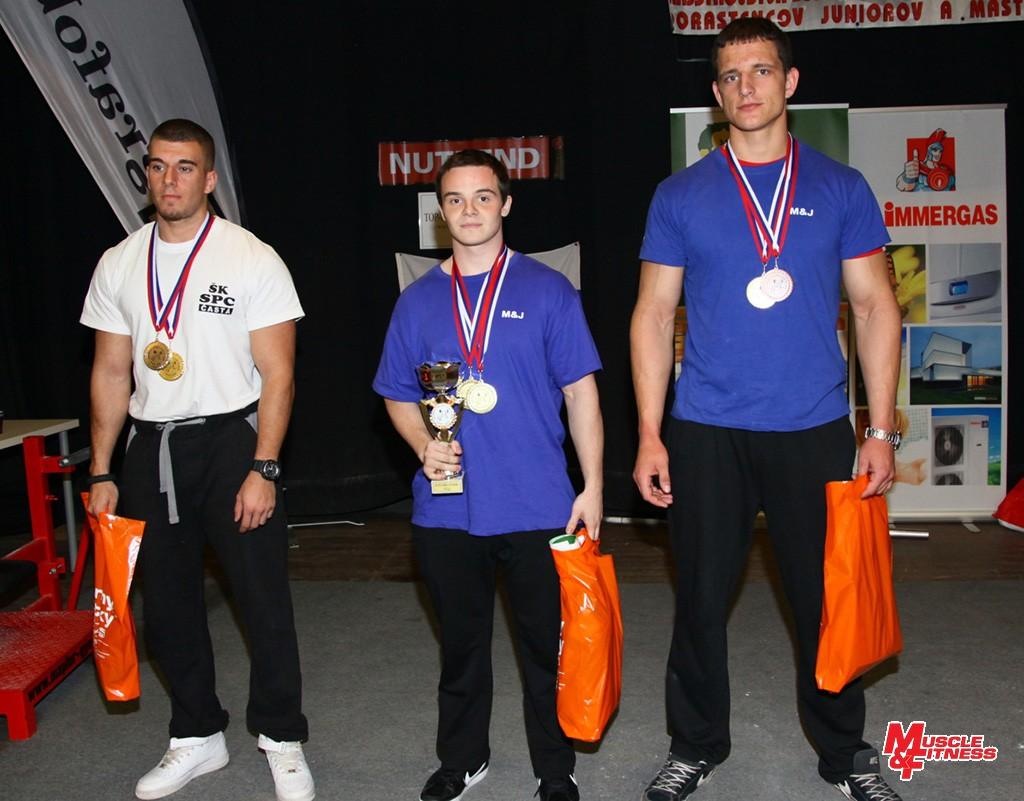 Absolútne poradie u juniorov (zľava): 2. Peter Nemček, 1. Roman Pecho, 3. Erik Hollý.