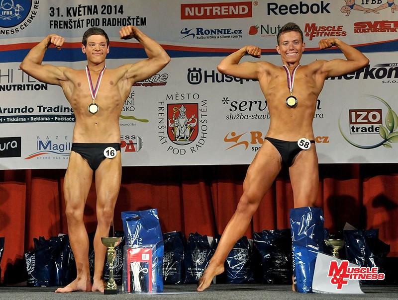 Kulturistika mladšího dorostu nad 65 kg (zleva): 1. Kešner, 2. Vráblík.