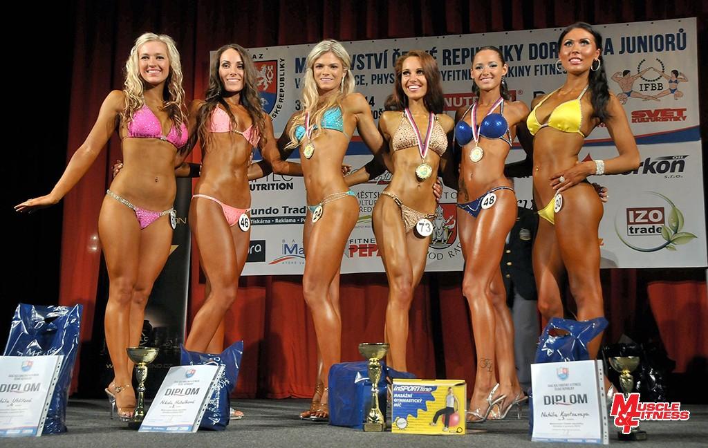 Bikini fitness juniorek: 6. K. Krásová, 4. Uhlířová, 2. Hubálková, 1. Endtová, 3. Kantsavaya, 5. Jančiarová.