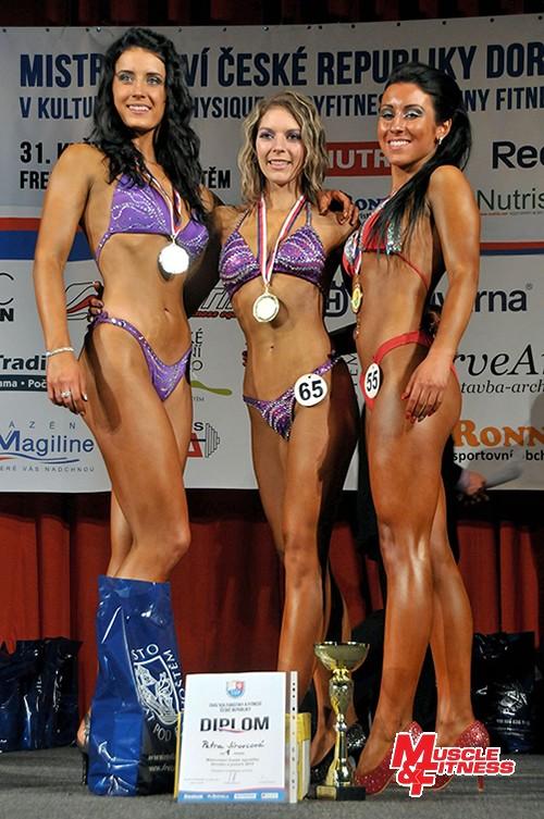 Bodyfitness juniorek: 2. Máchová, 1. Jírovcová, 3. Jančiová.