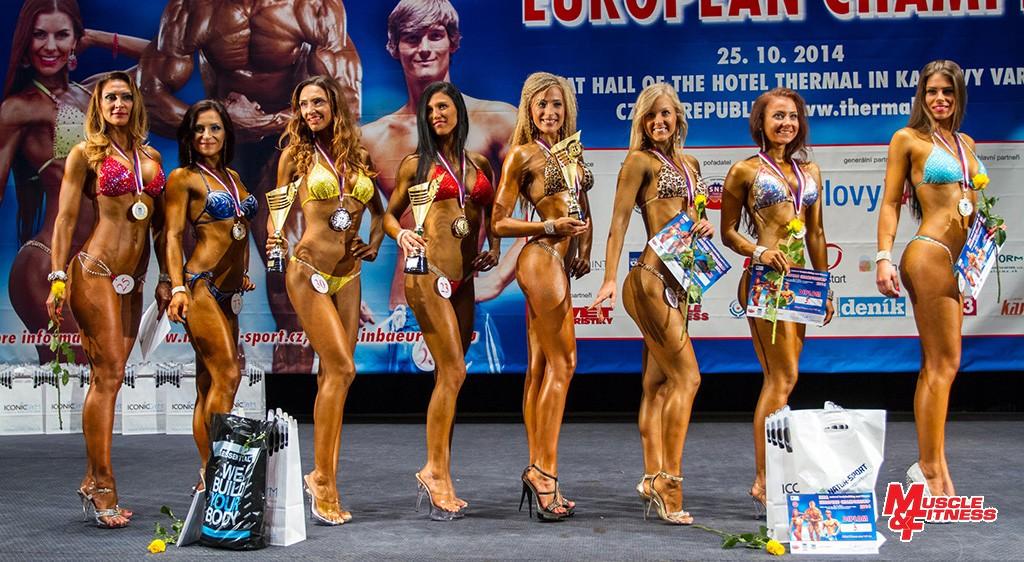 Fitness bikini nad 167 cm: 8. A. Telek-Metzler, 6. Bugorska, 2. Fabová, 1. Čurková, 3. Poizlová, 4. Szabóová, 5. Dlabajová, 7. Kováčiková.