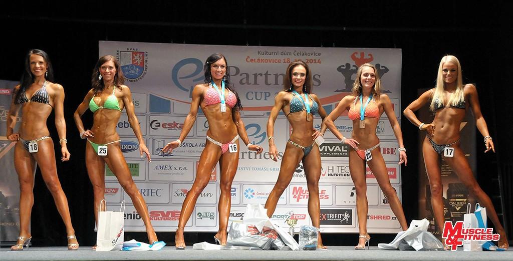 Bikini fitness nad 164 cm: 6. Šlajchová, 4. Lašáková, 2. Tůmová, 1. Bečková, 3. Simkovičová, 5. Havelková.