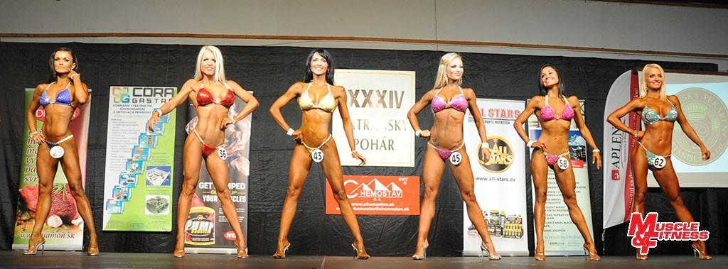 Bikini fitness do 163 cm: 2. Bérešová, 5. Kodadová, 1. Prítrská, 6. Neumannová, 4. Tarkulicová, 3. Brutenic.
