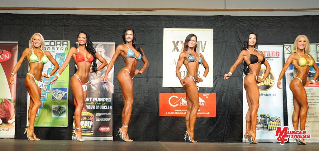 Bikini fitness nad 163 cm: 2. Milová, 5. Látková, 3. Pohánková, 6. Vodilová, 4. Gulášová, 1. Hargašová.