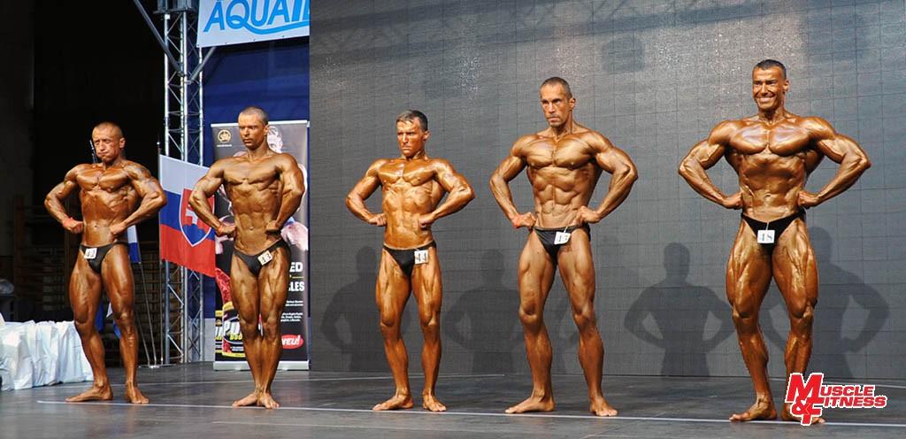 Klasická kulturistika do 175 cm (zľava): 3. Hlobik, 4. Klinko, 5. Urva, 2. Palovič, 1. Varga.
