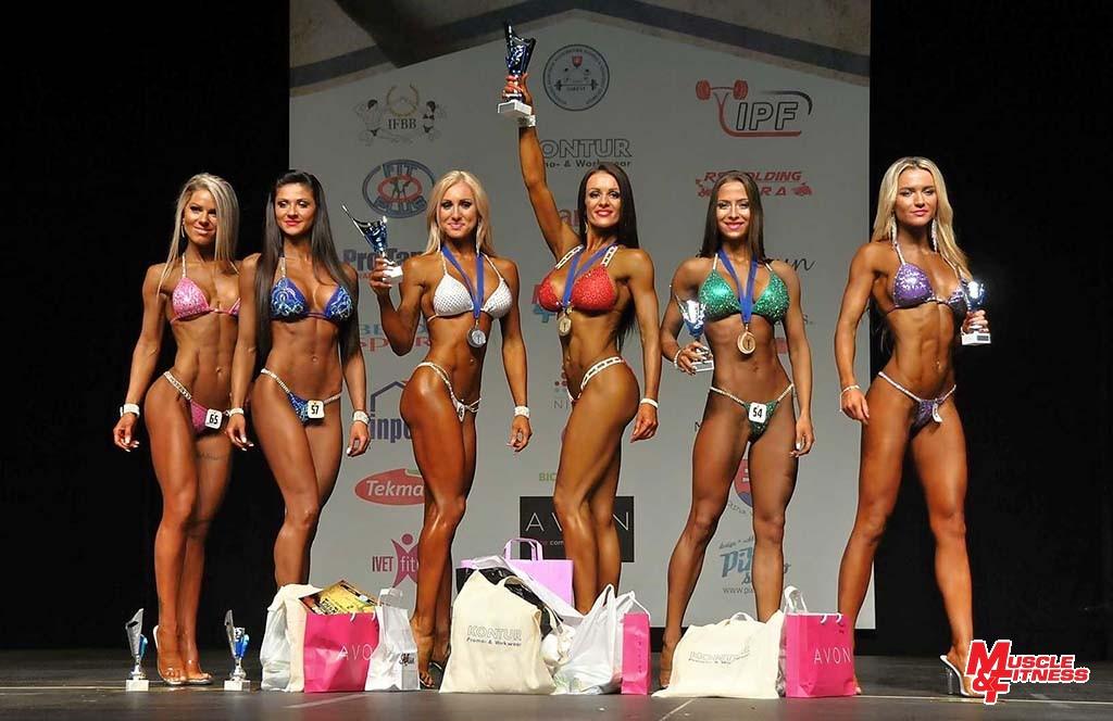 Bikini fitness do 169 cm: 6. Kovácsová, 4. Čambalová, 2. Milová, 1. Marčišovská, 3. Trajteľová, 5. Blahová.