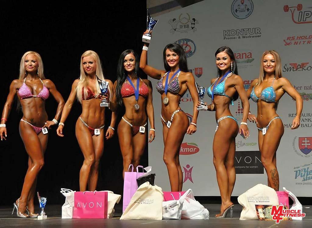 Bikini fitness do 163 cm (zľava): 6. Neumanová, 4. Kodadová, 2. Berešová, 1. Prítrská, 3. Tarkuličová, 5. Cabaníková.