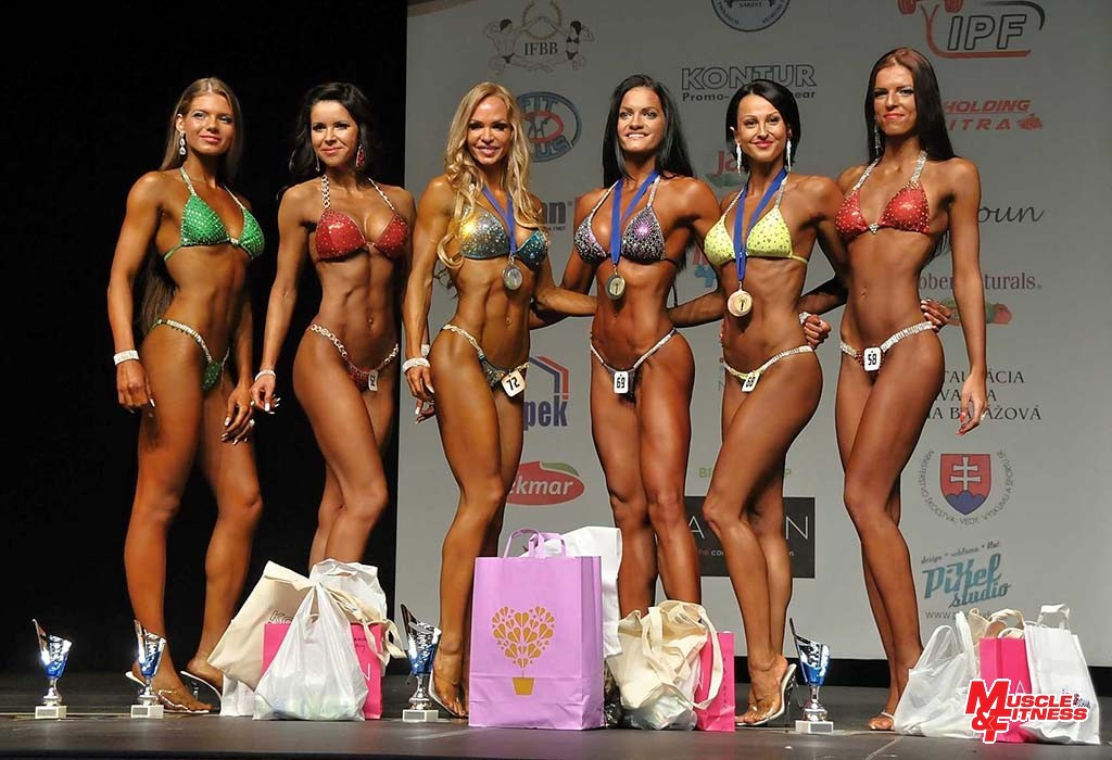 Bikini fitness nad 169 cm: 6. Bohunická, 4. Ďurinová, 2. Cakoci, 1. Pohanková, 3. Košecká, 5. Mihaličová.