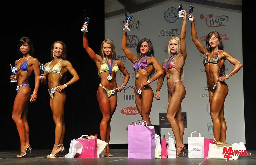 Bodyfitness nad 165 cm: 6. Bajtgovská, 4. Kovalčíková, 2. Tichá, 1. Vodilová, 3. Kovalčíková, 5. Bronišová.