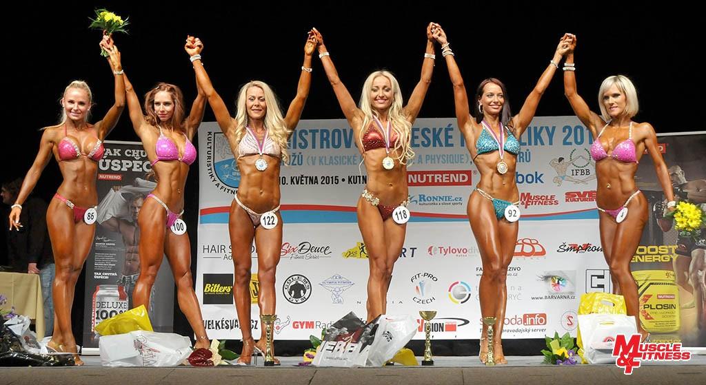 Bikini fitness do 168 cm: 6. Masslová, 4. Vlnasová, 2. Kabátová, 1. Peršina, 3. Votavová, 5. Berdychová.