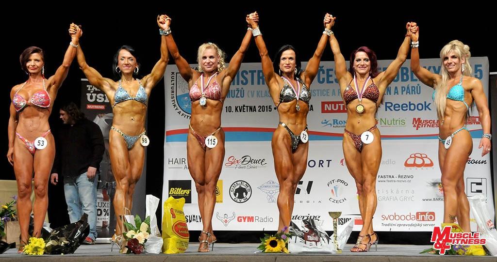 Bodyfitness masters nad 35 let: 6. Hudcová, 4. Koudelková, 2. Koumarová, 1. Jakešová, 3. Zubačová, 5. Sadílková.
