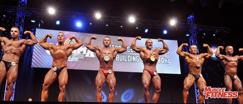 Kulturistika mužů do 80 kg: 6. Lepaja, 4. Khun, 2. Bajraktari, 1. Gerblinger, 3.   Denisov, 5. Arnold.