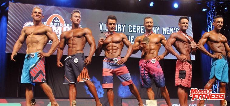 Physique mužů do 174 cm: 6. Mahovský, 4. Gunčík, 2. Benitez, 1. Falke, 3. Franco, 5. Da   Silva.