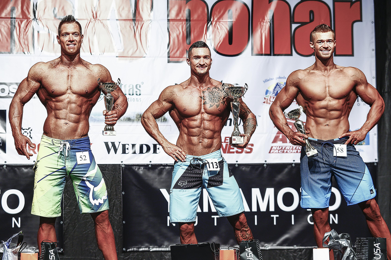 Physique mužov nad 175 cm: 2. Ivan Ščibravý, 1. Michal Višňovský, 3. Filip Olšavský. Foto: Ivan Pavlisko