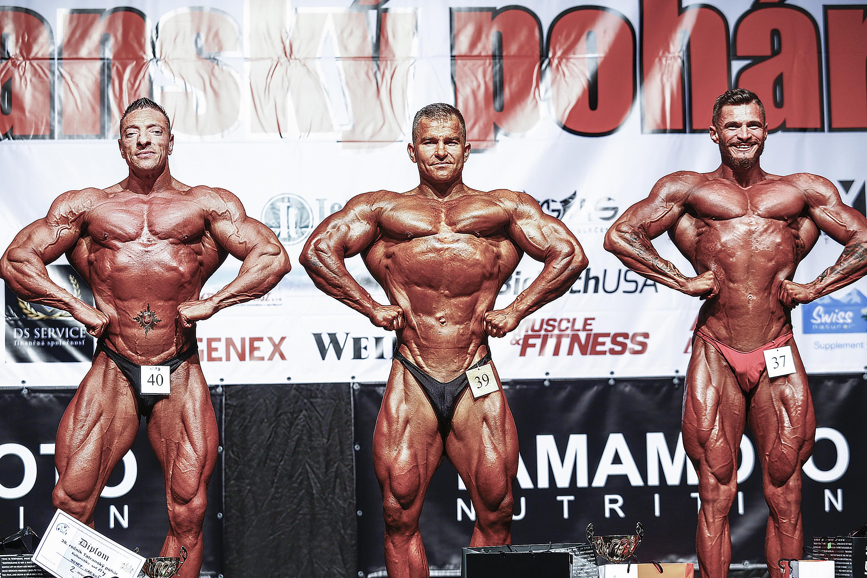 Kulturistika nad 85 kg: 2. Jozef Greguš, 1. Peter Tatarka, 3. Tomáš Sentinek. Foto: Ivan Pavlisko