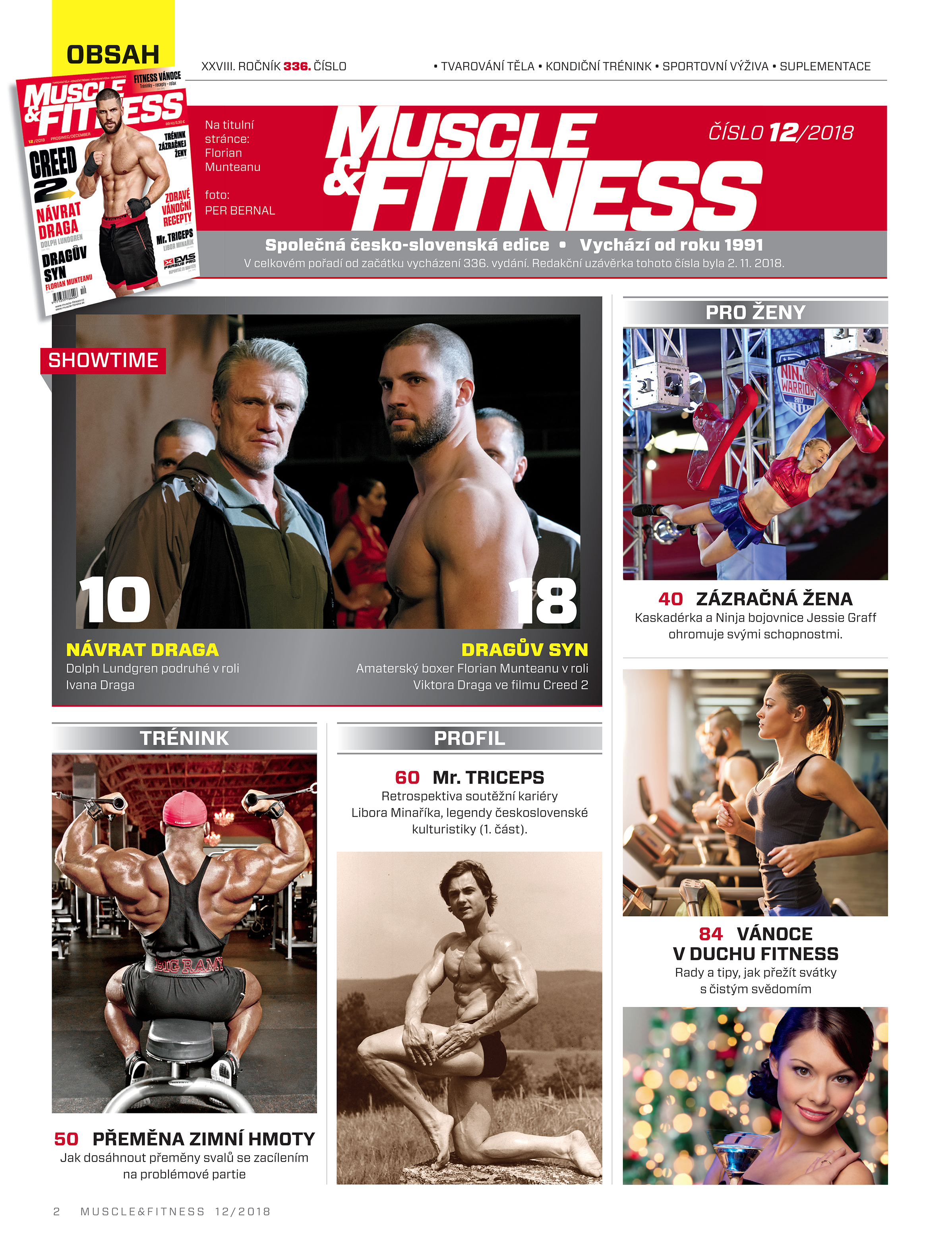 Obsah časopisu Muscle and Fitness 12/2018