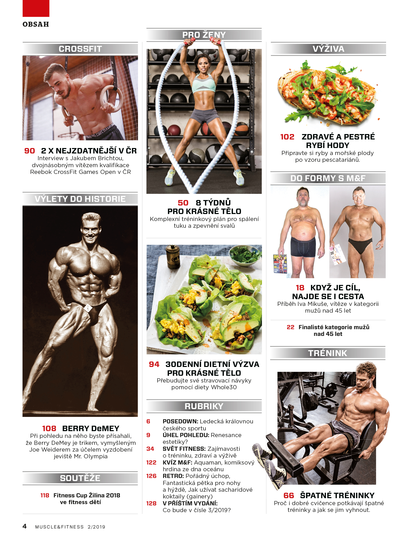 Obsah MUSCLE&FITNESS 2/2019